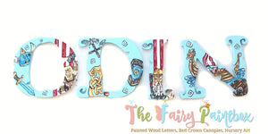 Little Viking Nursery Room Wall Letters - Little Viking Kids Room Painted Wood Letters