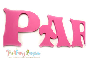 Fuchsia Pink Nursery Room Wall Letters - Pink Painted Wood Letters