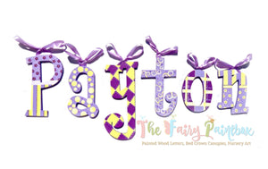 Purple Whimsy Nursery Room Wall Letters - Purple Painted Wood Letters