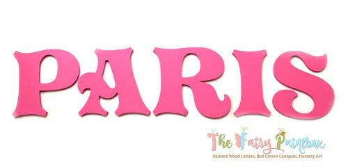 Storybook Pink Nursery Room Wall Letters - Royal Pink Painted Wood Letters