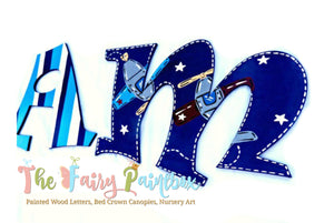 Plane Crazy Nursery Room Wall Letters - Airplanes Kids Room Painted Wood Letters