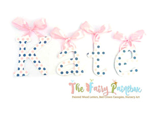 Polka Dot Nursery Room Wall Letters - Polka Dot Kids Room Painted Wood Letters - White/Gray/Pink