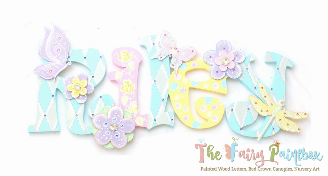 Pastel Butterfly Nursery Room Wall Letters - Butterfly Kids Room Painted Wood Letters