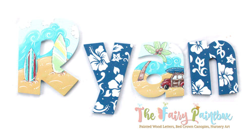 Beach Baby Nursery Room Wall Letters - Surfer Baby Painted Wood Letters