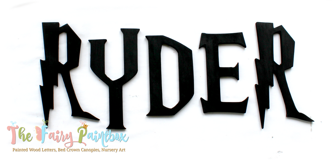 Wizard Academy Nursery Room Wall Letters - Wizard Kids Room Painted Wood Letters - Black