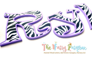 Purple Zebra Nursery Room Wall Letters - Zebra Stripe Safari Painted Wood Letters
