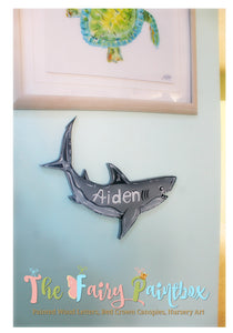 Shark Baby Name Nursery Room Sign - Personalized Shark Kids Room Sign