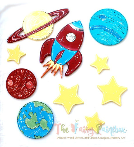 Solar System Nursery Room Wall Decor Set - Outer Space Kids Room Wall Hanging, Set of 15