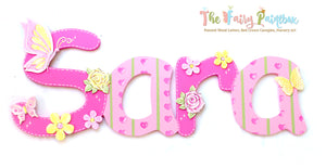Sweetheart Butterfly Nursery Room Wall Letters - Butterfly Kids Room Painted Wood Letters