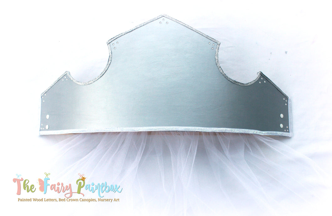 Sleeping Beauty 3D Princess Crown Canopy - Silver Wall Crown Canopy