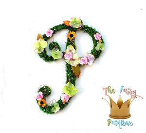 Sunflower Blooming Woodland Nursery Wall Letters - Moss Wall Letters - Floral Wall Letters - Kids Room Wood Letters