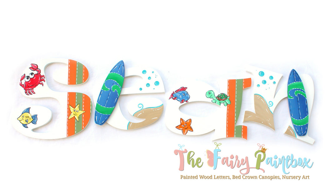 Sea Babies Nursery Room Wall Letters - Surfboard Kids Room Painted Wood Letters