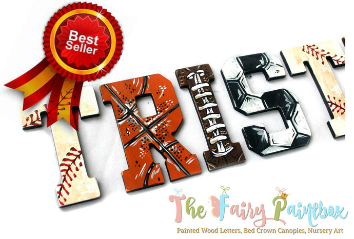 Vintage Sports Nursery Room Wall Letters - Vintage Sports Kids Room Painted Wood Letters
