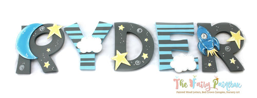 Love You To The Moon Nursery Room Wall Letters - Twinkle Star Kids Room Painted Wood Letters