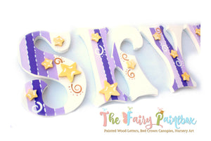 Twinkle Star Nursery Room Wall Letters - Starry Kids Room Painted Wood Letters