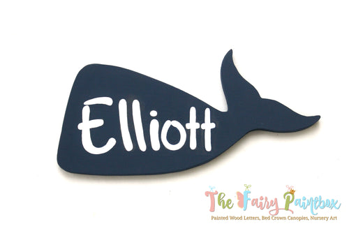 Blue Whale Baby Name Nursery Room Sign - Personalized Blue Whale Kids Room Wall Sign