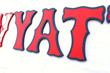 Red Sox Nursery Room Wall Letters - Sox Baseball Sports Kids Room Painted Wood Letters - Red/Blue