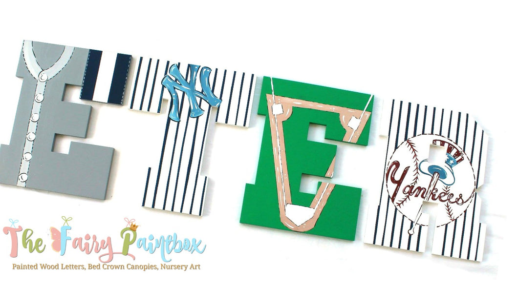 Yankees Painted Wall Letters -  Yankees Nursery Room Letters - Sports Baby Name Letters - Baseball Painted Wood Letters