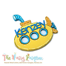 Yellow Submarine Baby Name Nursery Room Wall Sign - Personalized Yellow Submarine Kids Room Wood Sign