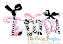 Funky Zebra Baby Room Decor Hanging Wall Letters - Safari Kids Room Decor Painted Wood Letters - Pink/Black