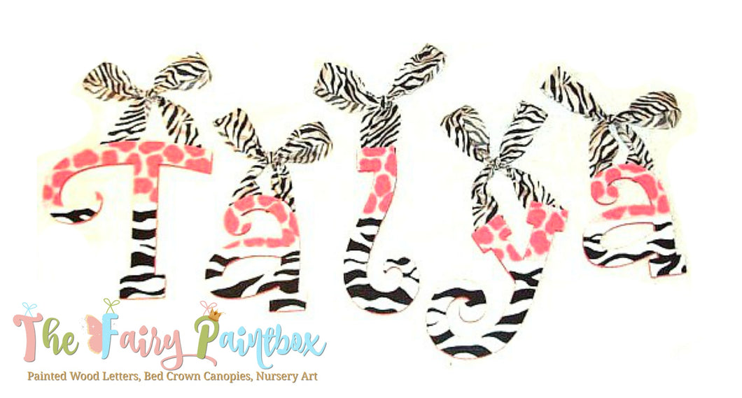 Zebra Giraffe Print Nursery Room Wall Letters - Safari Zebra Giraffe Painted Wood Letters