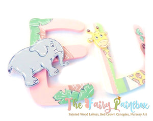 Off to the Zoo Nursery Room Wall Letters - Safari Zoo Kids Room Painted Wood Letters - Pink/Green