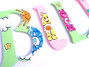 Pastel Caring Bear Nursery Room Wall Letters - Caring Bear Kids Room Painted Wood Letters