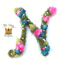 Blue-Pink Blooming Woodland Nursery Room Wall Letters - Moss Wall Letters