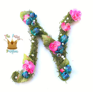 Woodland Botanical Kids Room Decor Hanging Moss Wall Letters - Blue/Pink