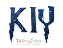 Wizard Academy Nursery Room Wall Letters - Wizard Kids Room Painted Wood Letters - Blue Glitter
