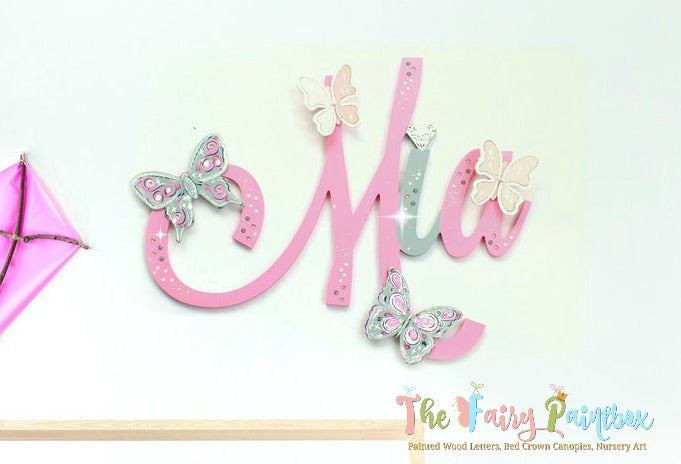 Crystal Butterfly Nursery Room Wall Letters - Butterfly Kids Room Painted Wood Letters