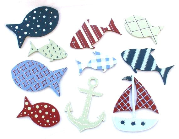 Nautical Nursery Room Wall Art Decor Set - Nautical Ocean Wall Shapes Set