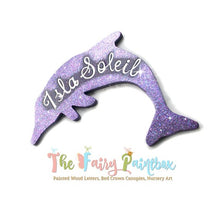 Glitter Dolphin Baby Name Nursery Room Sign - Personalized Dolphin Kids Room Sign