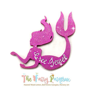 Glitter Pink Mermaid Nursery Room Sign - Personalized Mermaid Kids Room Sign