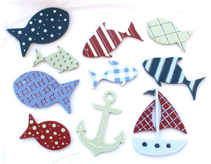 Nautical Nursery Wall Art Set - Patterned Ocean Animals Kids Room Wall Shapes - Nautical Sailboat Painted Wood Shapes Wall Set