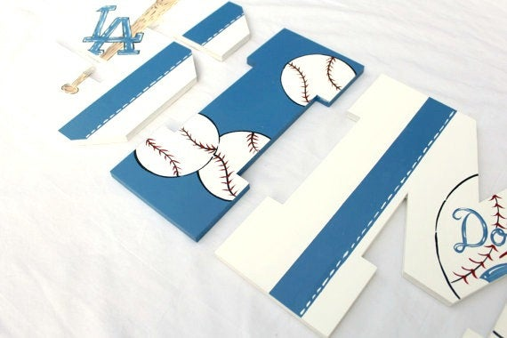Baseball Team Painted Letters, Baseball Bat Pennant Nursery Letters, Baseball Team Nursery Decor,Baseball Nursery Newborn Photo Prop Letters