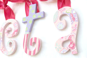 Pink Paisley Painted Letters - Butterfly Nursery Letters - Paisley Nursery Decor - Girls Nursery Decor - Wood Letters