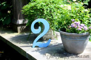 Light Blue Wood Table Number - Shimmer Blue Standing Table Number Decor