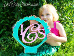 Green Shell Monogram Nursery Room Sign - Personalized Sea Shell Kids Room Sign