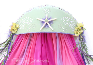 Mermaid Shell 3D Princess Crown Canopy - Mermaid Wall Crown Canopy