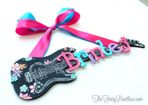 Guitar Nursery Wall Hanging - Personalized Guitar Sign - Baby Name Decor - Musical Nursery Room Wall Art - Guitar Art - Baby Room Wall Sign