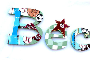 Sports Nursery Wall Painted Letters - Sports Wall Hanging - Wooden Initials - Sports Wall Letters - Monogram Decor - Baby Name Wall Decor