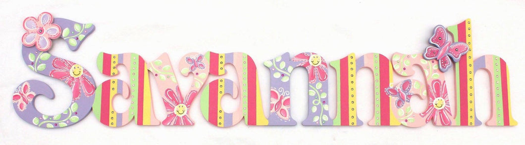 Smiling Daisy Painted Letters, Hot Pink Lavender Nursery Letters, Floral Nursery Wall Hanging, Floral Baby Name Letters Rainbow Letter Prop