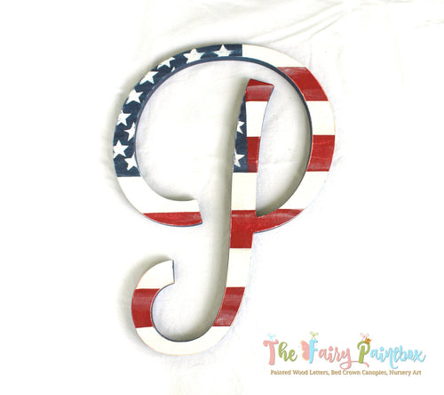 Distressed American Flag Painted Script Letter, Patriotic Nursery Letters July 4th Door Monogram, Red White Blue Newborn Prop Wedding Letter