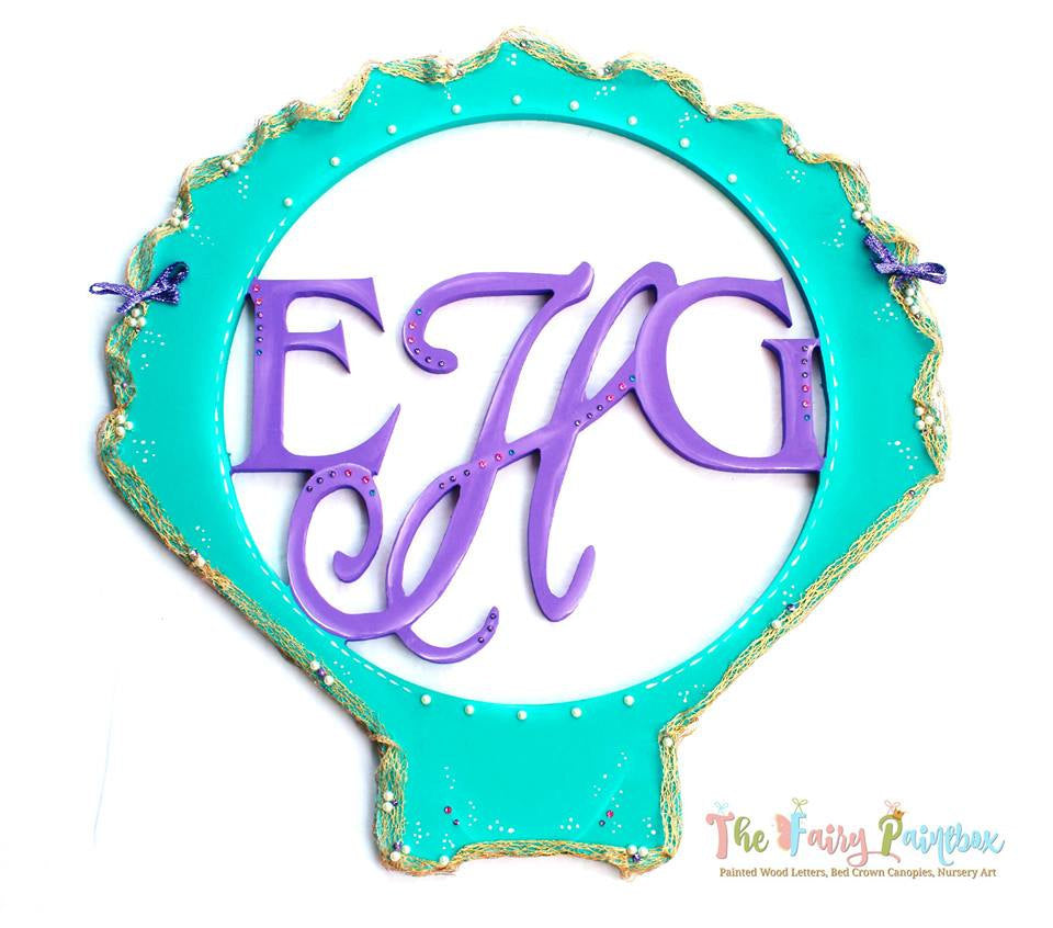 Shell Monogram Nursery Room Sign - Personalized Monogram Shell Kids Room Sign - Turquoise