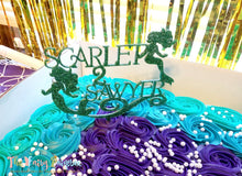 Mermaid Twins Cake Topper - Green Glitter Mermaid Cake Topper