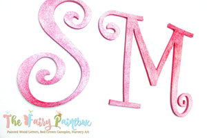 Sparkle Magenta Painted Letters, Glitter Pink Nursery Letters, Glitter Alphabet Letters Sparkle Pink Photo Prop Letters Wedding Letter Decor