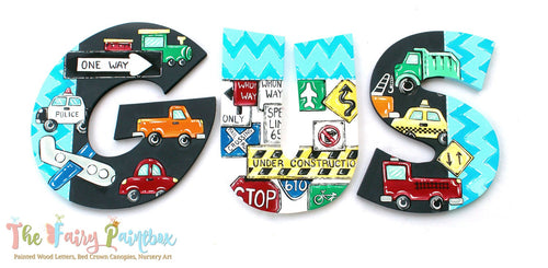 Automobile Painted Letters - Chevron Trains Planes Nursery Letters - Cars Wall Letters
