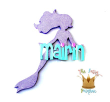 Mermaid Baby Name Nursery Room Sign - Personalized Mermaid Kids Room Sign - Purple Glitter