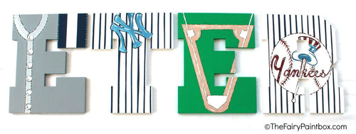Yankees Baseball Painted Letters - Yankees Nursery Letters - Baseball Bedroom Decor - Wood Letters
